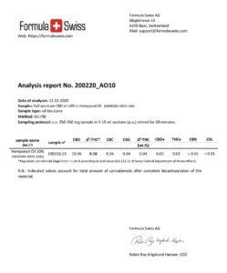 Резултати от проведени анализи на 10% CBD FORMULA SWISS, органик, в конопено олио